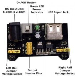 3.3V/5V MB102 Breadboard Power Supply Module